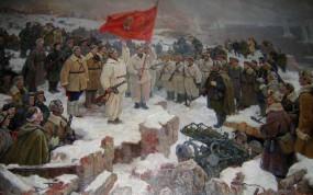 Обои После боя: Зима, Солдаты, День Победы, Ленин, Флаг, Победа, День победы