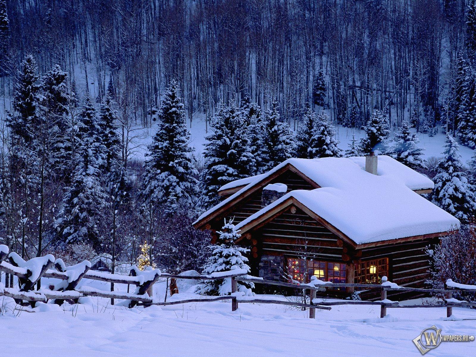 Домик в зимнем лесу 1600x1200