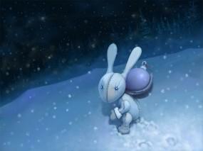Обои Новогодний зайчик: Снег, Ночь, Зайка, Новый год, Новый год