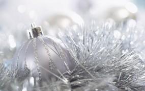 Обои Белый шар: Новый год, Праздник, Мишура, Новый год