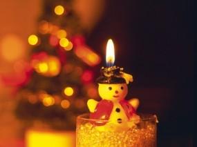 Обои Свеча-снеговик: Свеча, Новый год, Снеговик, Новый год