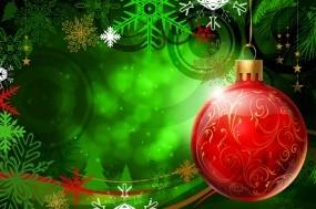 Обои Красный шар: Зелёный, Новый год, Шар, Красный, Новый год