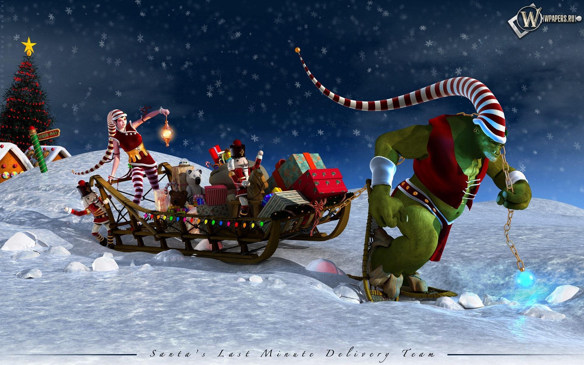 Санта-Клаус на санях 1920x1200