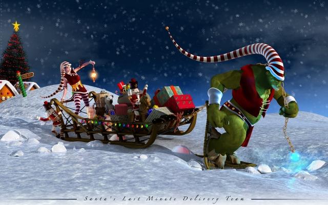 Санта-Клаус на санях
