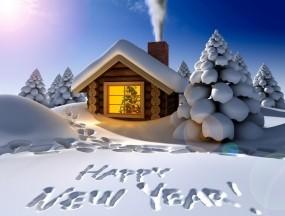 Обои Поздравление на снегу: Зима, Снег, Новый год, Дом, Праздник, Новый год