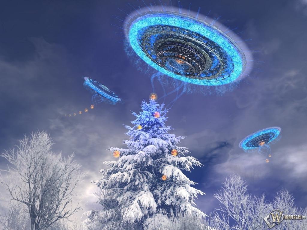 НЛО украшают ёлку 1024x768