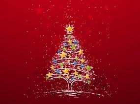 Обои Красная ёлка: Звёзды, Новый год, Елка, Красный, Новый год
