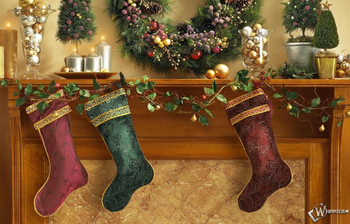 Рождественские носки 1200x768