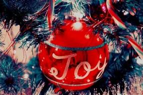 Обои Красный шар: Новый год, Шар, Елка, Праздник, Мишура, Новый год