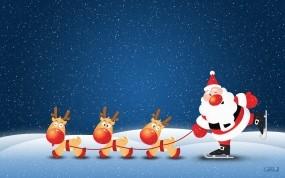 Санта с оленями