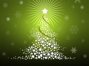 Обои Ёлка из звёзд: Снежинки, Звёзды, Елка, Праздник, Новый год