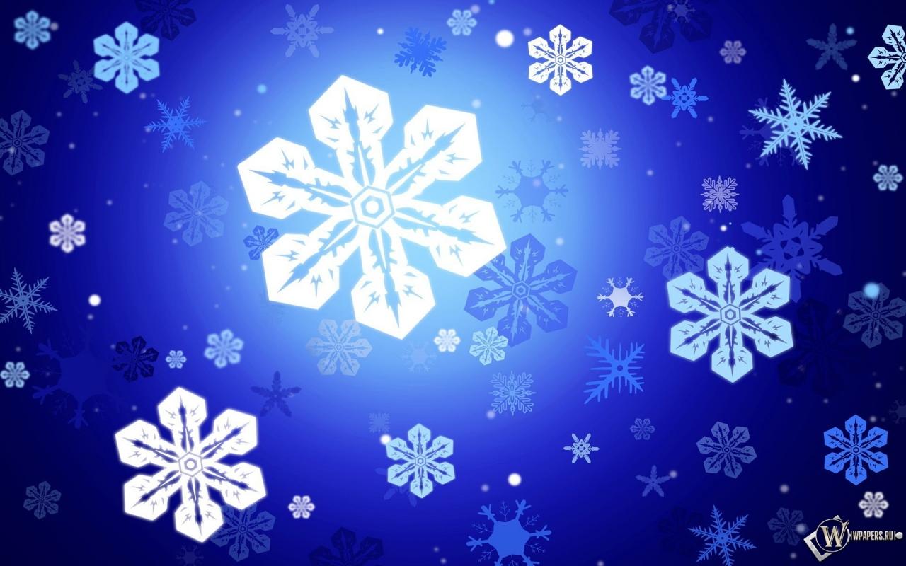 Снежинки 1280x800