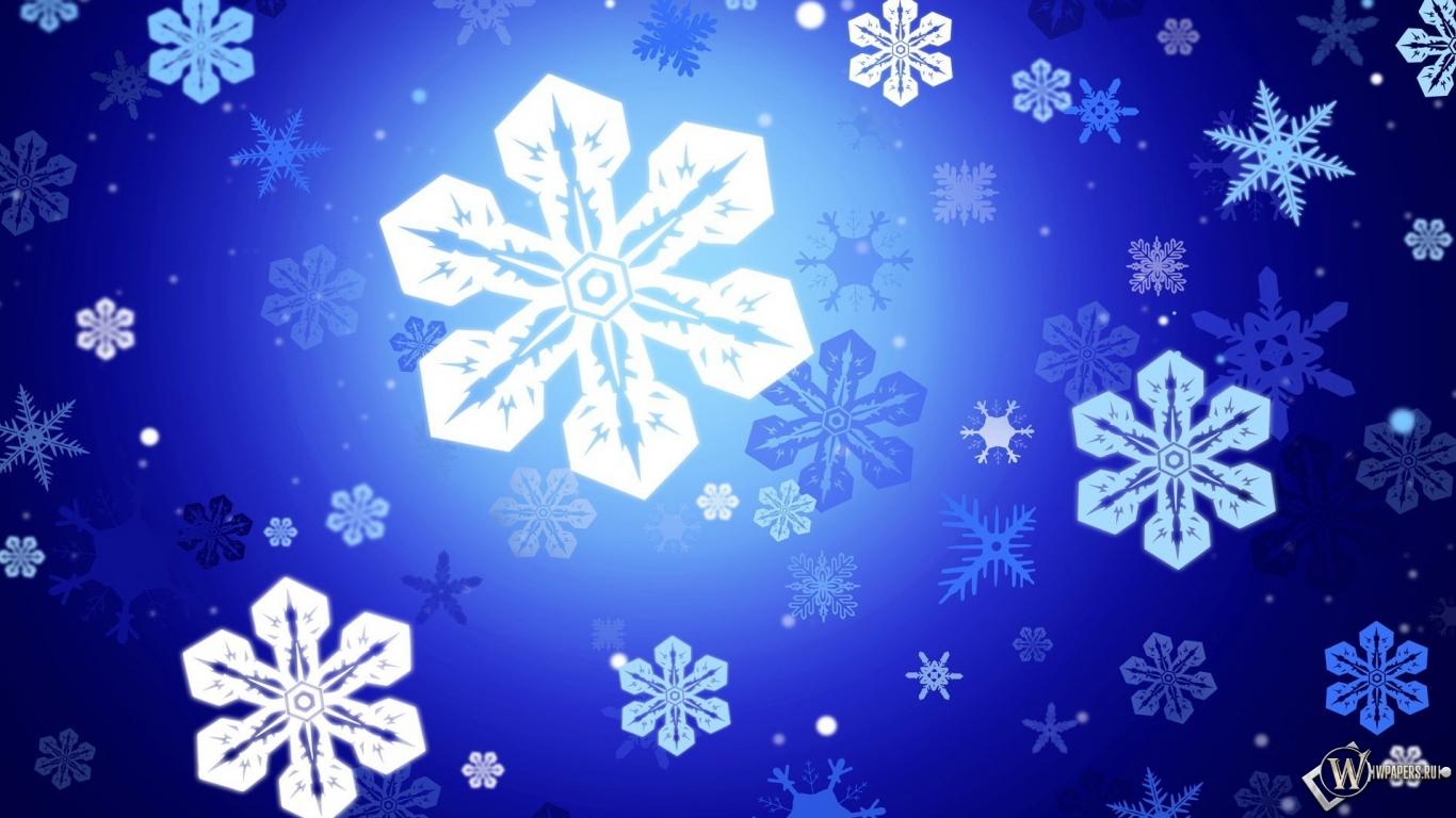 Снежинки 1366x768