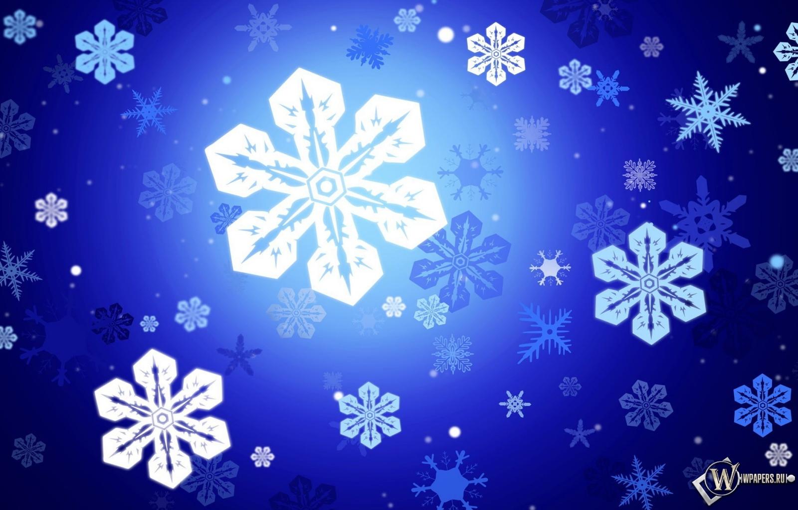 Снежинки 1600x1024