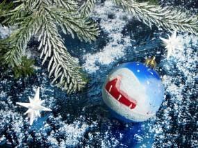 Обои Новый год: Снег, Новый год, Шар, Иголки, Елка, Украшения, Новый год