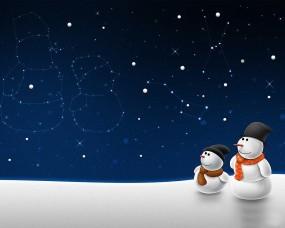 Обои Снеговики: Снег, Звёзды, Семья, Снеговики, Новый год
