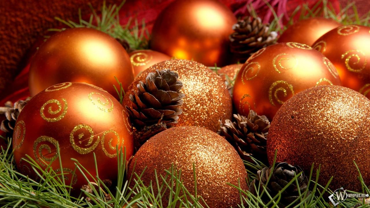 Рождественские шарики 1280x720