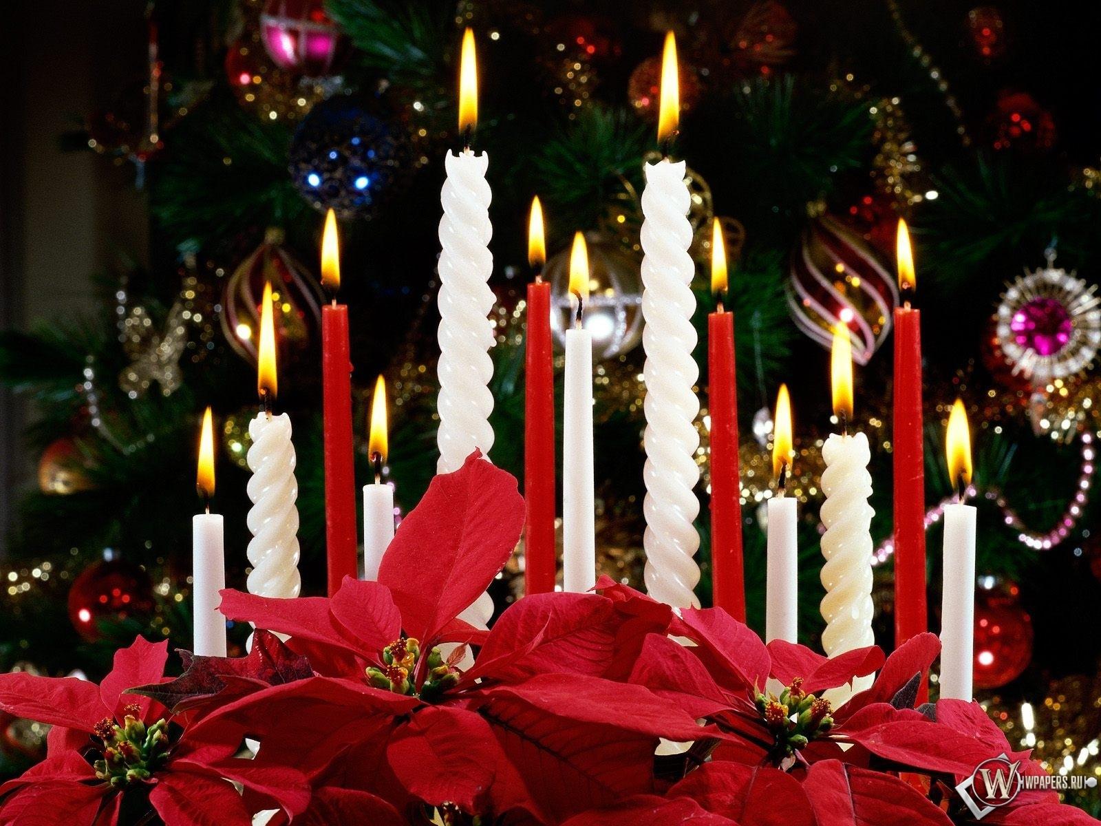 Рождественские свечи 1600x1200