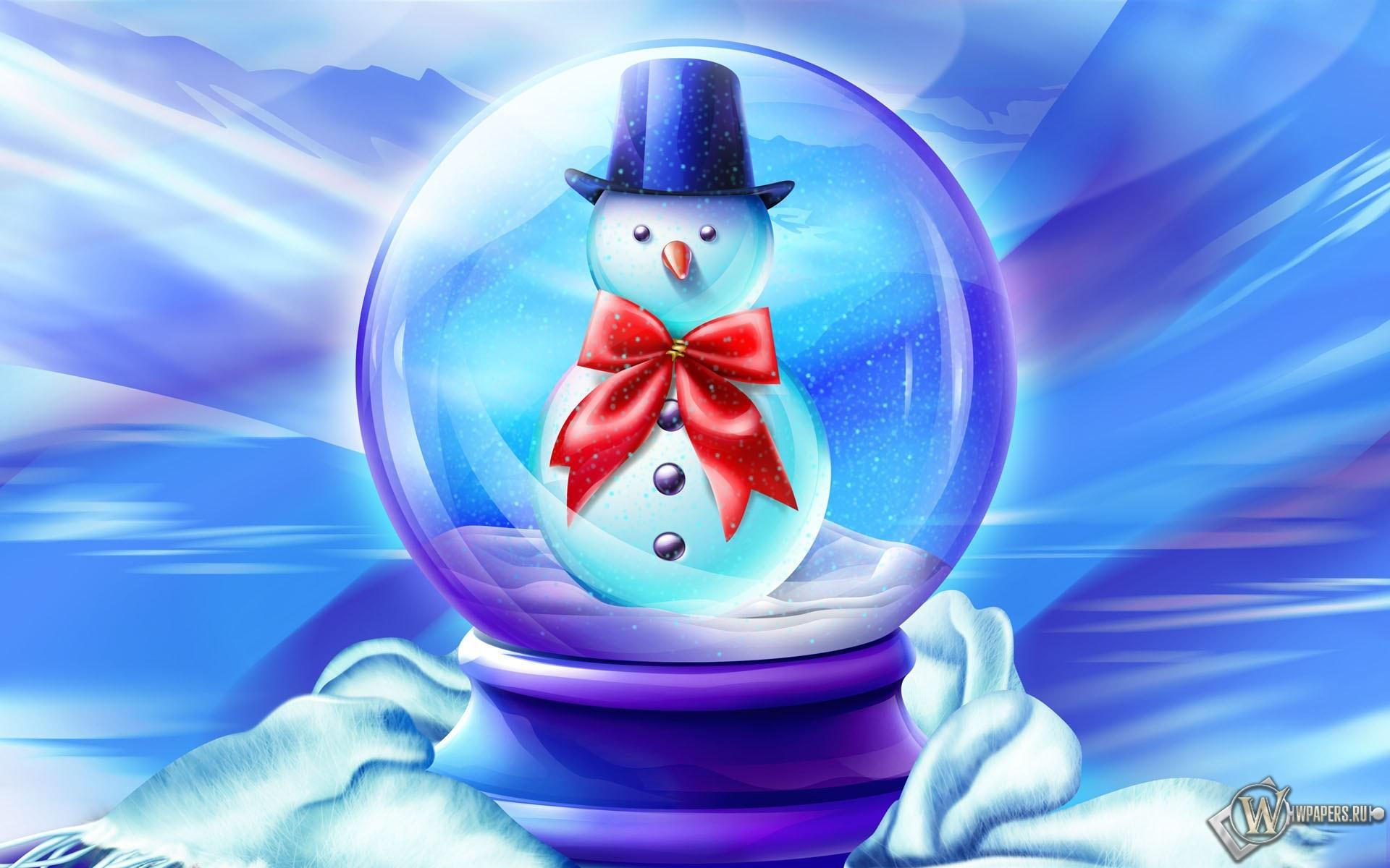 Снеговик в шарике 1920x1200