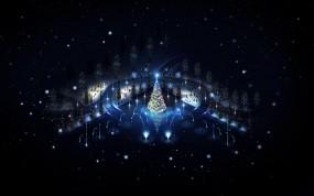 Обои Новый год: Огни, Зима, Ночь, Новый год, Елка, Праздник, Игрушки, Салют, Новый год