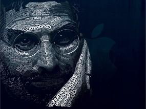 Обои Шрифтовой портрет Стива Джобса: Лицо, Обработка, Мужчина, образ, Шрифтовой портрет, Мужчины