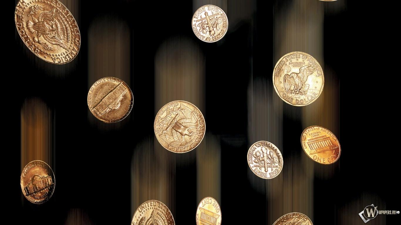 Дождь из монет 1366x768