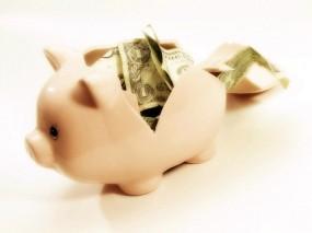 Обои разбитая копилка: Банкноты, Купюры, Доллар, Доллары, Деньги, Свинья, Деньги