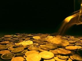 Обои Падающие деньги: Золото, Деньги, Чёрный фон, Монеты, Деньги