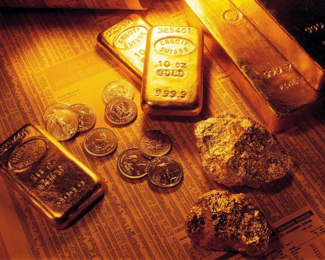Слитки самородки и монеты