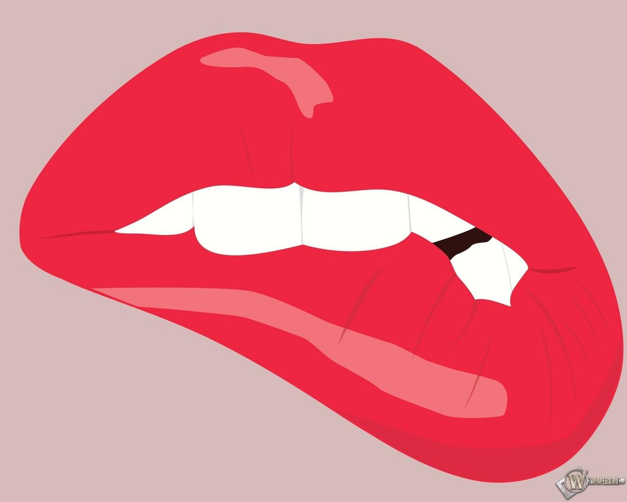 Прикушенные губы 1280x1024