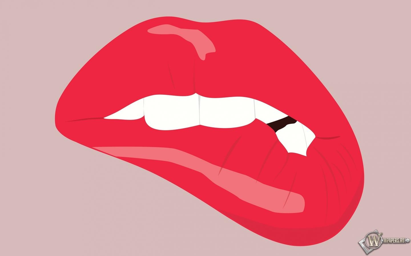 Прикушенные губы 1440x900