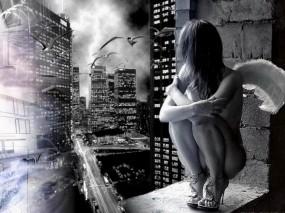 Обои Девушка ангкел: Девушка, Окно, Ангел, Птицы, Настроения