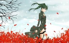 Обои Одинокая Девушка: Снег, Девушка, Ветер, Одиночество, Настроения