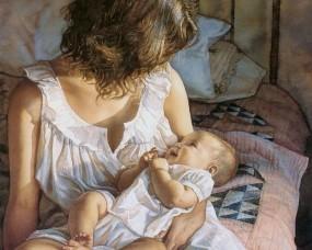 Обои Мама с ребенком: Нежность, Малыш, Мама, Настроения