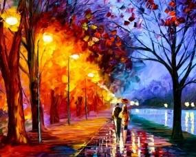 Обои Пара под зонтом: Любовь, Картина, Пара, Рисунок, Масло, Настроения