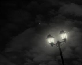 Обои Фонарь в ночи: Ночь, Звёзды, Минимализм, Фонарь, Настроения