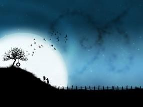 Обои Любовь под луной: Любовь, Луна, Юность, Настроения