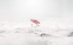 Обои Сакура и девушка: Девушка, Дерево, Сакура, Настроения