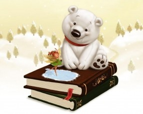 Обои Белый мишка на книгах: Книги, Фея, Медведь, Детство, Сказка, Настроения