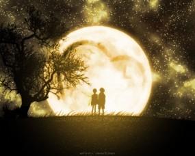 Обои Night love: Ночь, Любовь, Луна, Пара, Дерево, Настроения