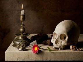 Обои Мрачный набор: Свеча, Череп, Книга, Настроения