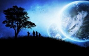 Обои Инопланетная семья: Планета, Дерево, Вектор, Люди, Дети, Настроения