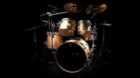 Обои Барабаннакя установка: Музыка, Чёрный фон, Барабан, Музыка