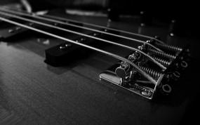 Обои Бас гитара: Гитара, Ч/б, Струны, Музыка