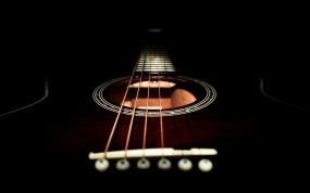 Обои Гитарный гриф: Чёрный, Гитара, Струны, Музыка
