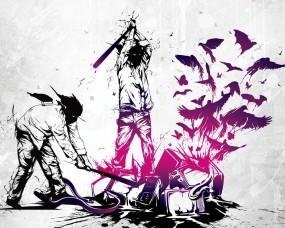 Обои Three Days Grace: Музыка, Граффити, Птицы, Телевизор, Музыка