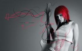 Обои Любовь к музыке: Девушка, Гитара, Музыка, Музыка