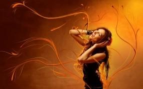 Обои Музыкальная: Девушка, Музыка, Рыжий, Музыка