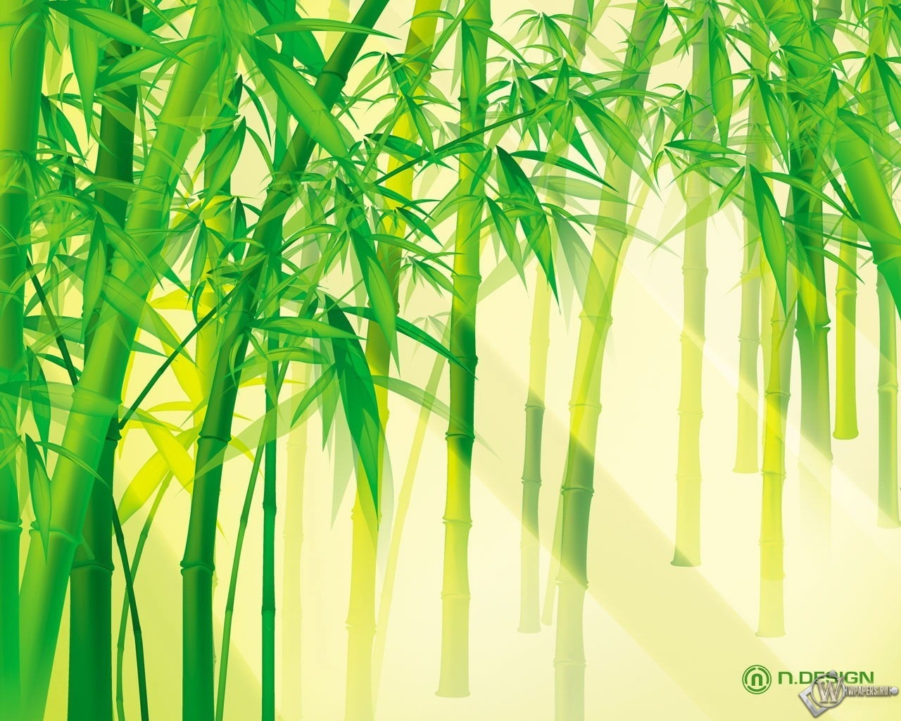 Солнце сквозь бамбук 1280x1024