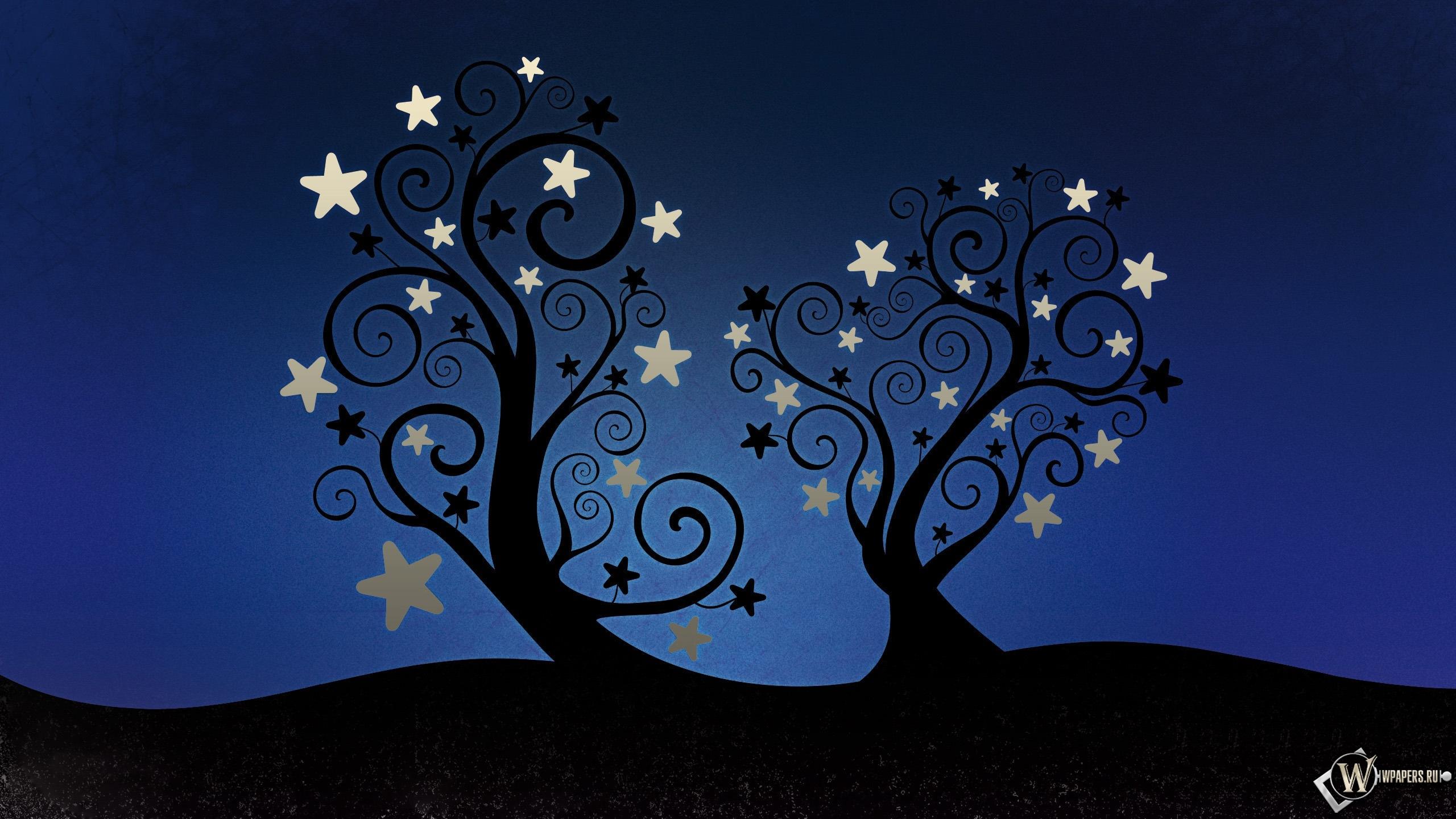 Деревья со звёздами 2560x1440